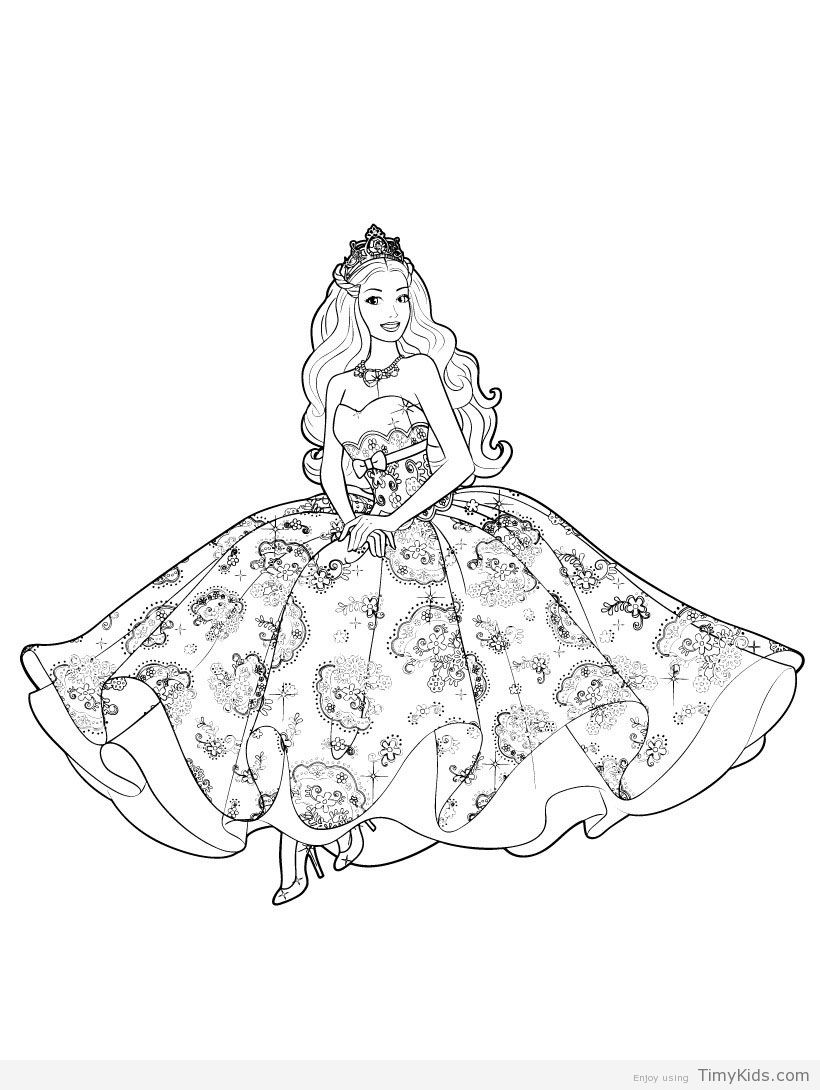 Timykids Princess Barbie Coloring Pages Html