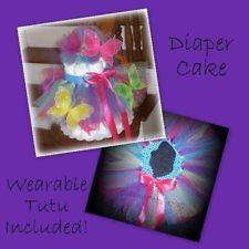 butterfly theme diaper cakes | Butterfly Diaper Cake Baby Shower Centerpiece Decorations Rainbow Tutu ...