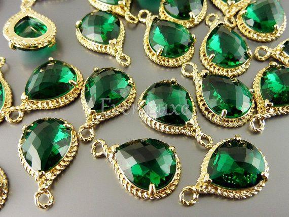 5054GEM BULK 6 pcs Emerald / Gold Faceted tear drop by EverLuxe, $19.77