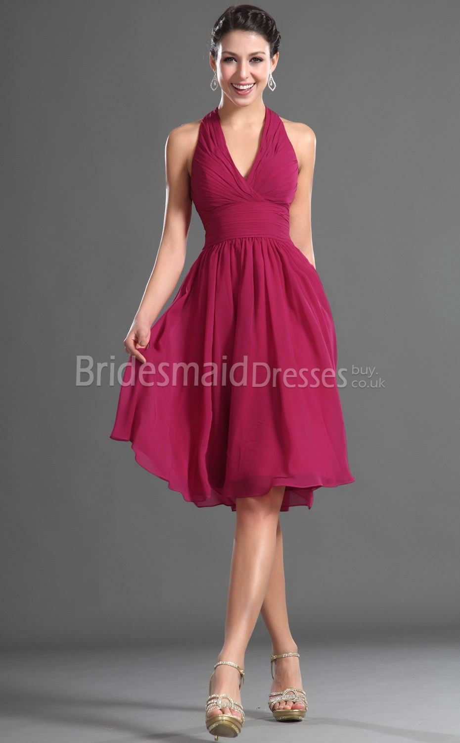 Chiffon aline halter short with draping cheap fuchsia bridesmaid