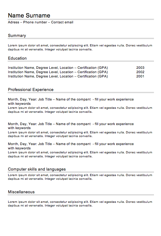 CV Classic N°2   Curriculum-Vitae.in   Projects to Try   Pinterest ...