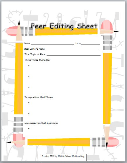 New Peer Editing Freebie I Like This Didnt Look At The Site But My 2nd Graders Can Use