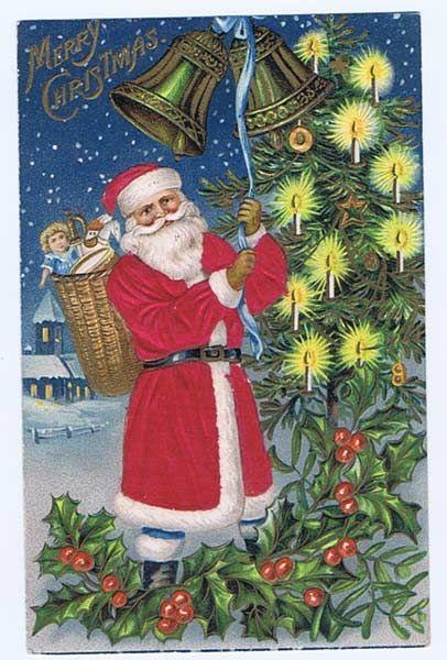 SILK Robed 1907 SANTA Rings The Bells Embossed Postcard~Toy Basket from baublesbanglesandbeads on Ruby Lane