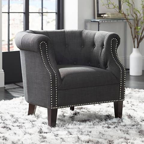 Neve Heirloom Charcoal Tufted Accent Chair 1w843 Lamps Plus