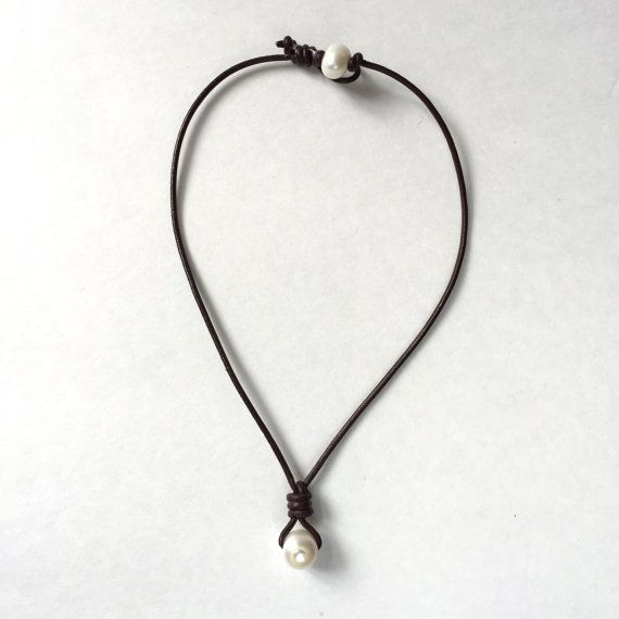 Single drop pearl and leather necklace fresh by tulip3jewelry