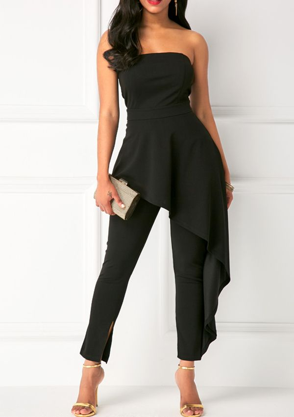 Black Strapless High Waist Ruffle Overlay Jumpsuit 23db86ce93cc