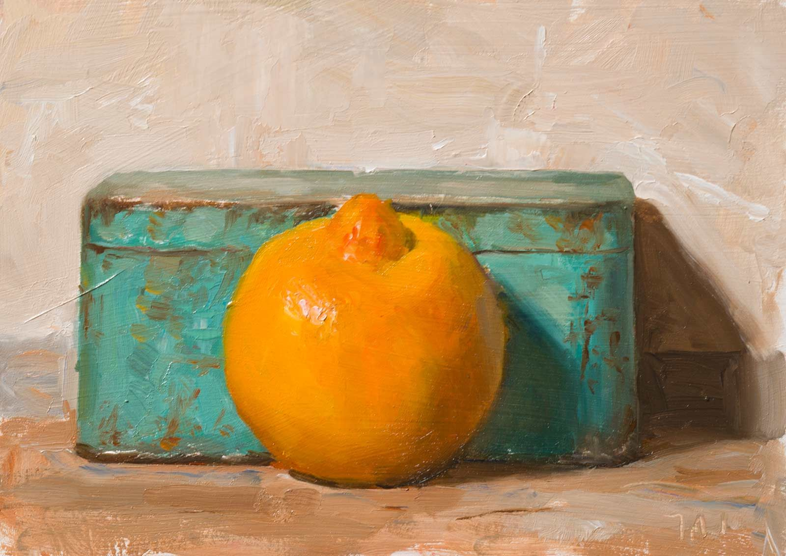 daily painting titled Bergamot and blue tin - click for enlargement