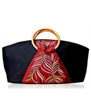 Red pattern silk handbag