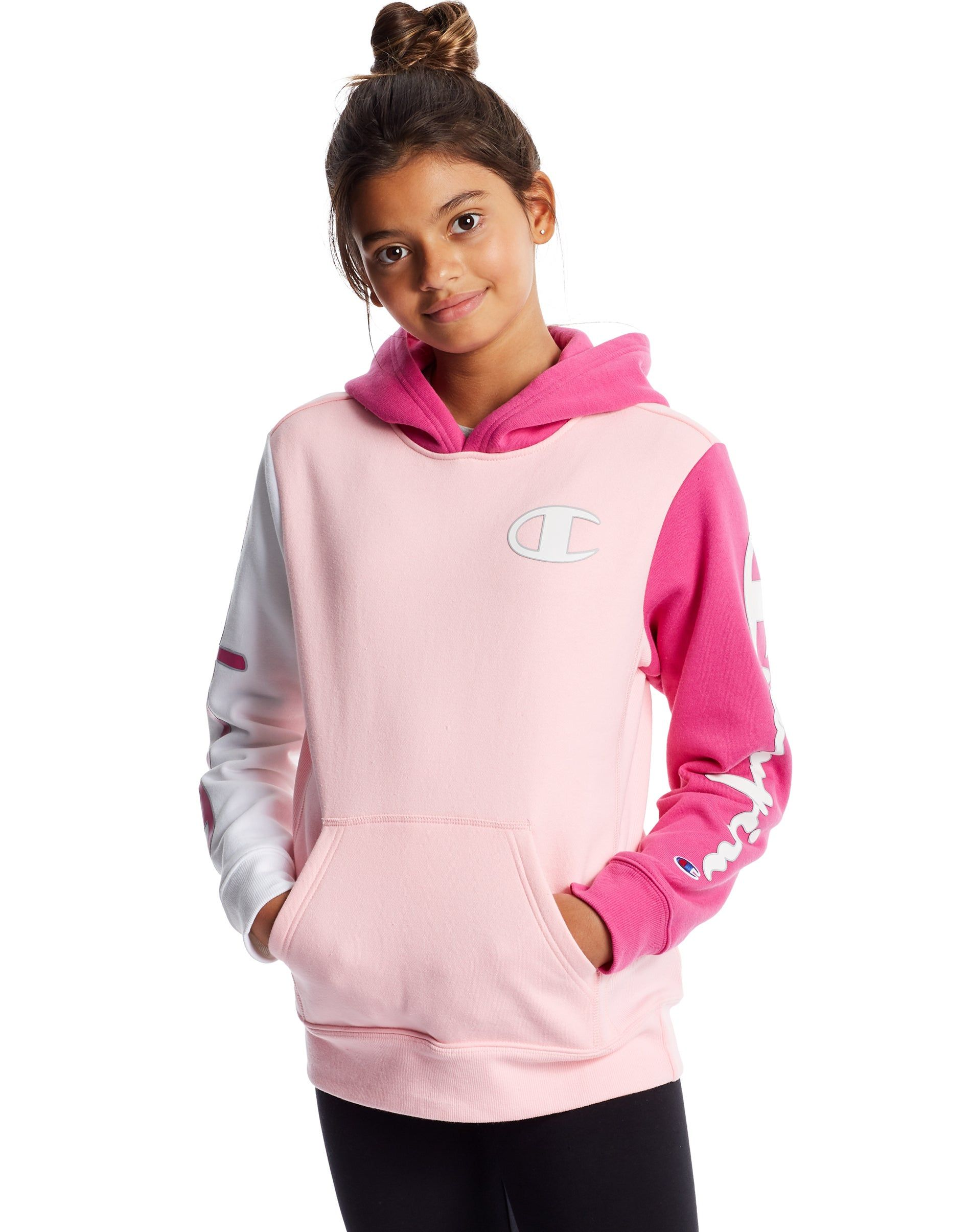 Kids Champion Life Reverse Weave Colorblock Hoodie Pink Candy Peony Parade Pink White In 2021 Youth Hoodies Champion Reverse Weave Hoodies [ 2410 x 1900 Pixel ]