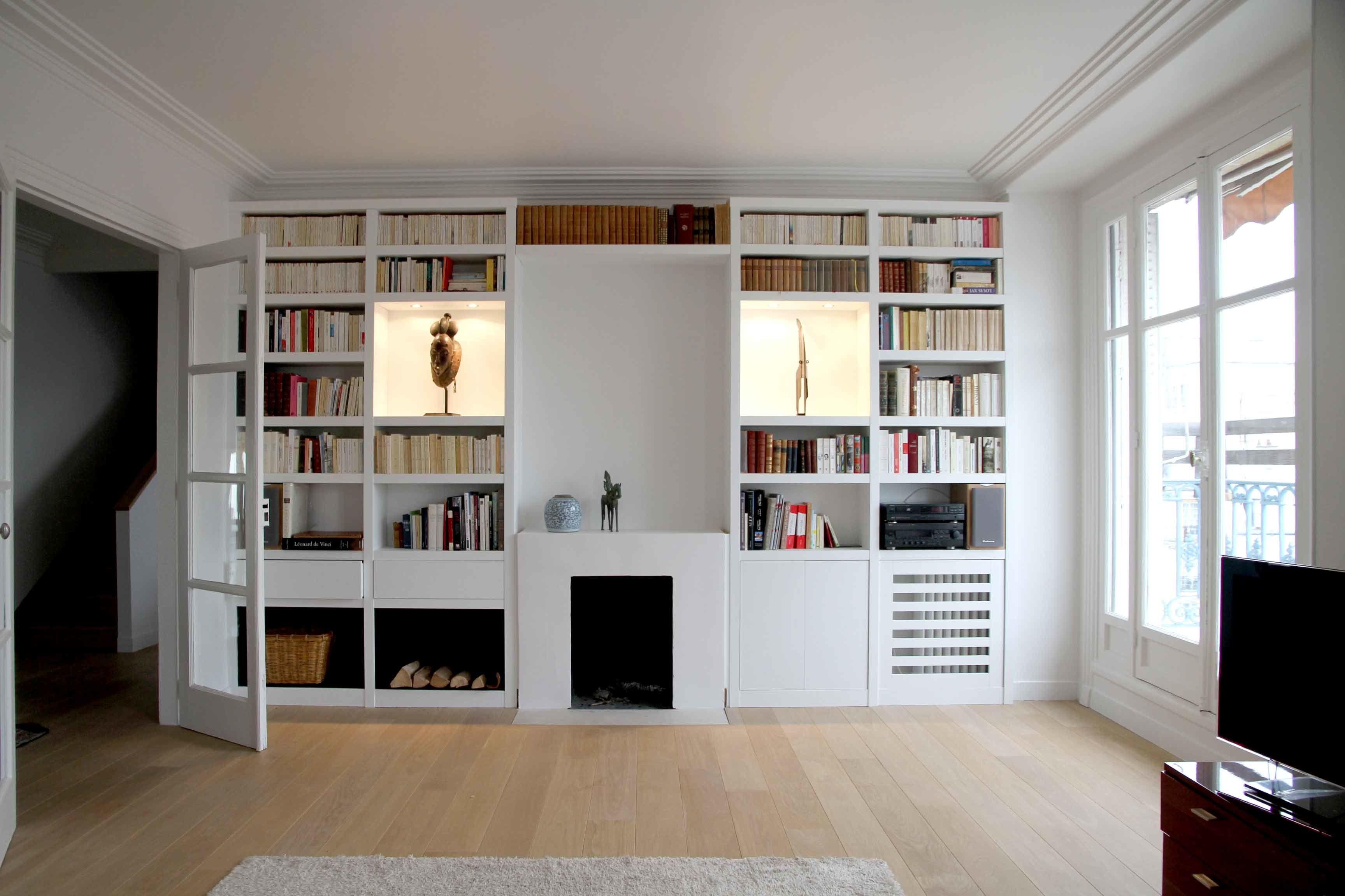 Bibliotheque Sur Mesure Paris Nantes Lorient Vannes Cache Radiateur Design Cheminee En Brique Relooking Cache Radiateur
