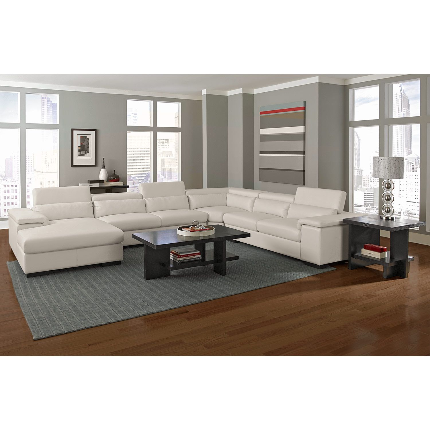 American Signature Furniture   Ventana Leather 4 Pc. Sectional (Reverse)  This Would Be