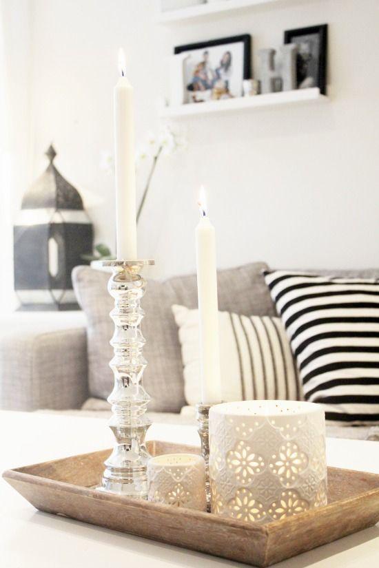 Een dienblad doet het goed ter decoratie op de salontafel maar hoe vul je een dienblad - Wat op een salontafel ...