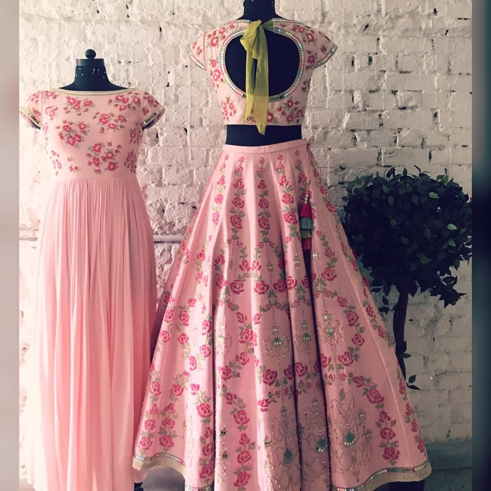 Pinks! Beautiful blush pink color lehenga and choli with chandelier ...