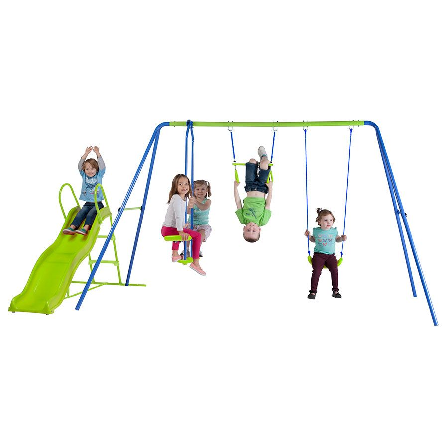 Swing sets wayfair metal amp wooden swingsets for kids - Action 3 Unit Swing Set With Slide Toys R Us Australia