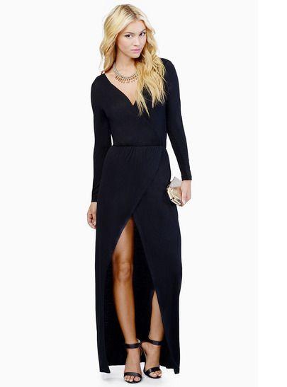 Black Long Sleeve Front Split V Neck Maxi Dress - Sheinside.com Mobile Site