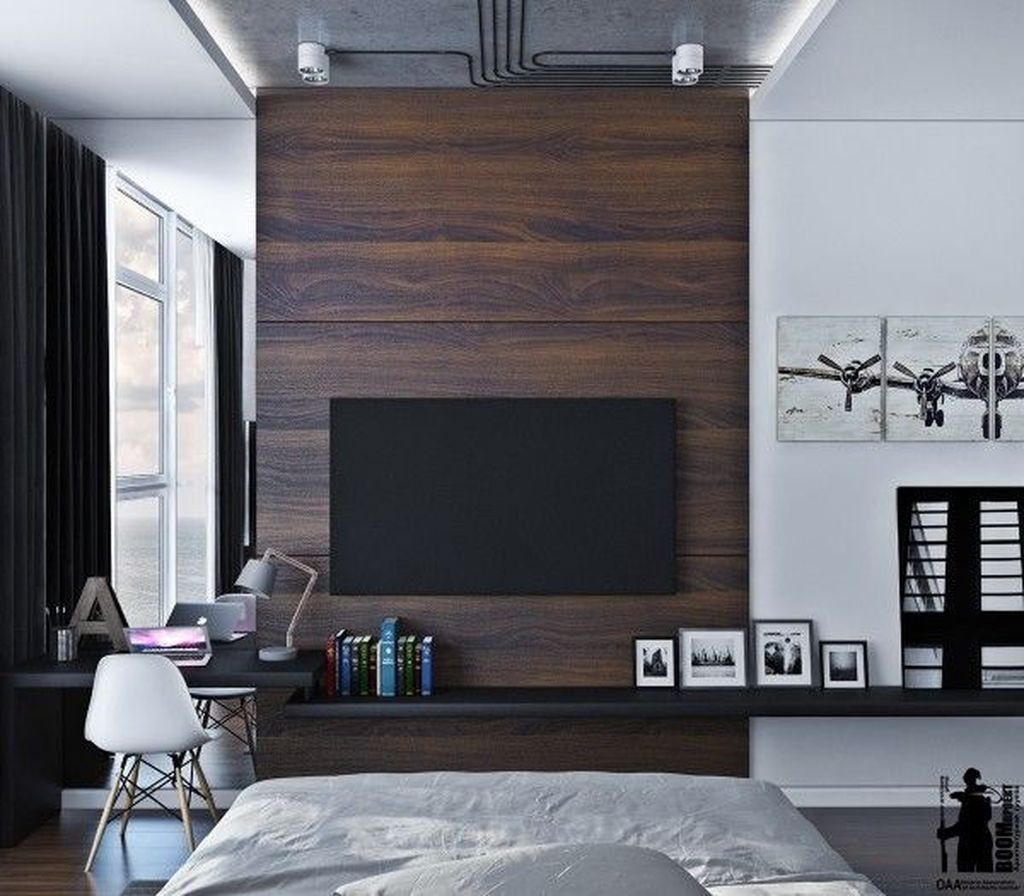 Pin By Daily Home Decor On Dream House Bedroom Tv Wall Tv Wall Decor Tv In Bedroom