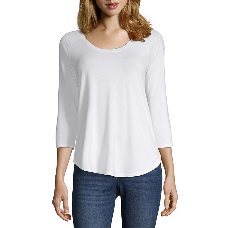 a.n.a 3/4 Sleeve Round Neck T-Shirt-Womens | Sleeveless ...