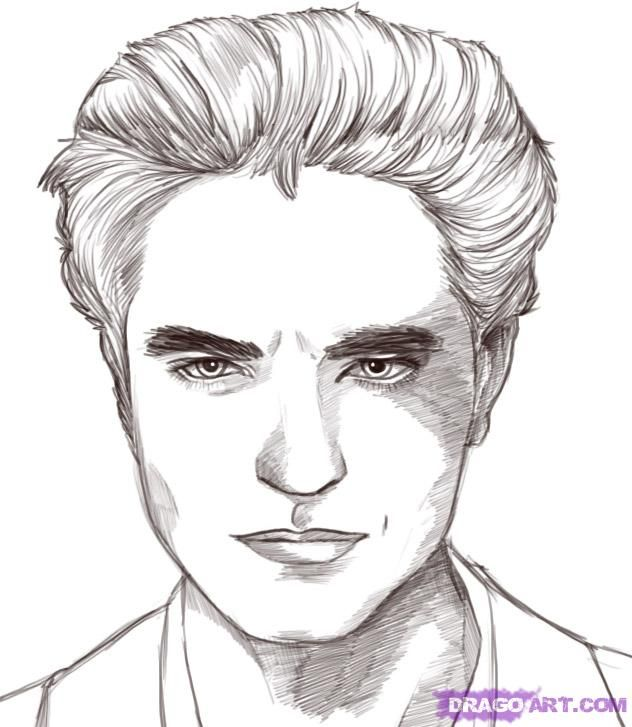 How To Draw Edward Cullen Robert Pattinson From Twilight Step By Step Movies Pop Culture Free Online Drawing T Twilight Painting Saga Art Vampire Drawings