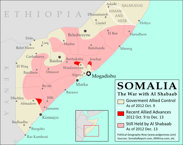 Map of Al Shabaab control in southern Somalia as of December 2012