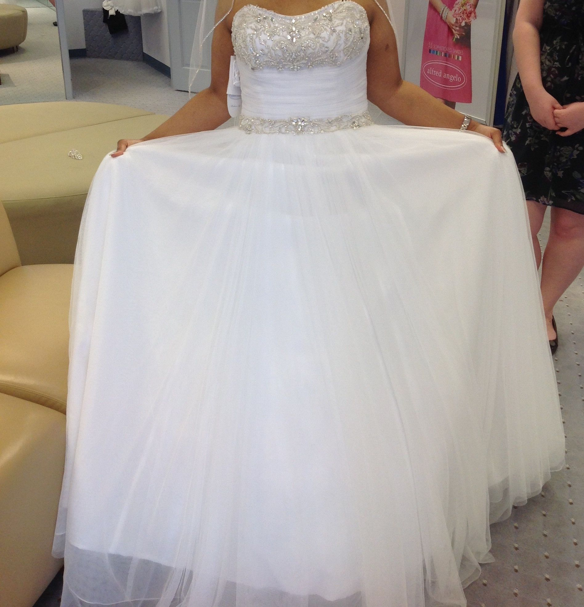 Alfred angelo style cathedral train wedding dress and wedding