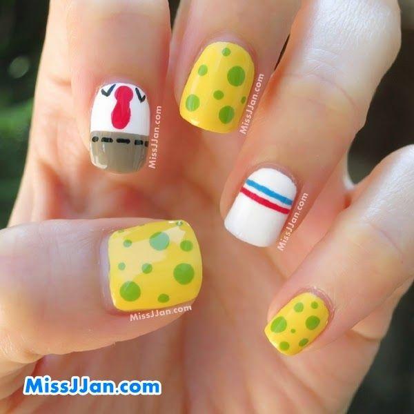 Tutorial Spongebob Squarepants Inspired Nail Art Spongebob Nails Kids Nail Designs Manicure