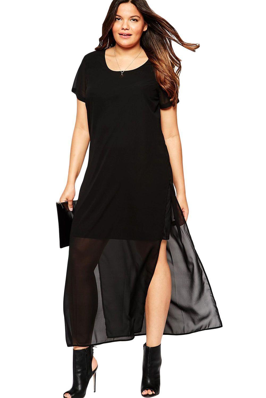 Robes Taille Noir En Mousseline De Soie Overlay Big Girl Maxi Robe