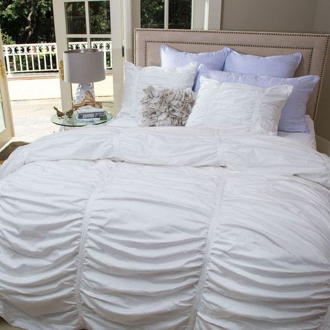 White Mirabel Ruched Euro Sham Euro White Duvet Covers White