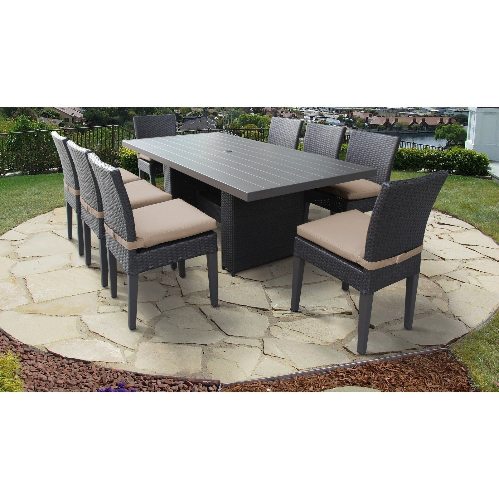 9 Piece Belle Rectangular Outdoor Patio Dining Table With 8