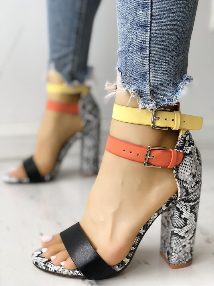 1499dd7bfcb Contrast Color Snakeskin Buckled Chunky Heeled Sandals | Women ...