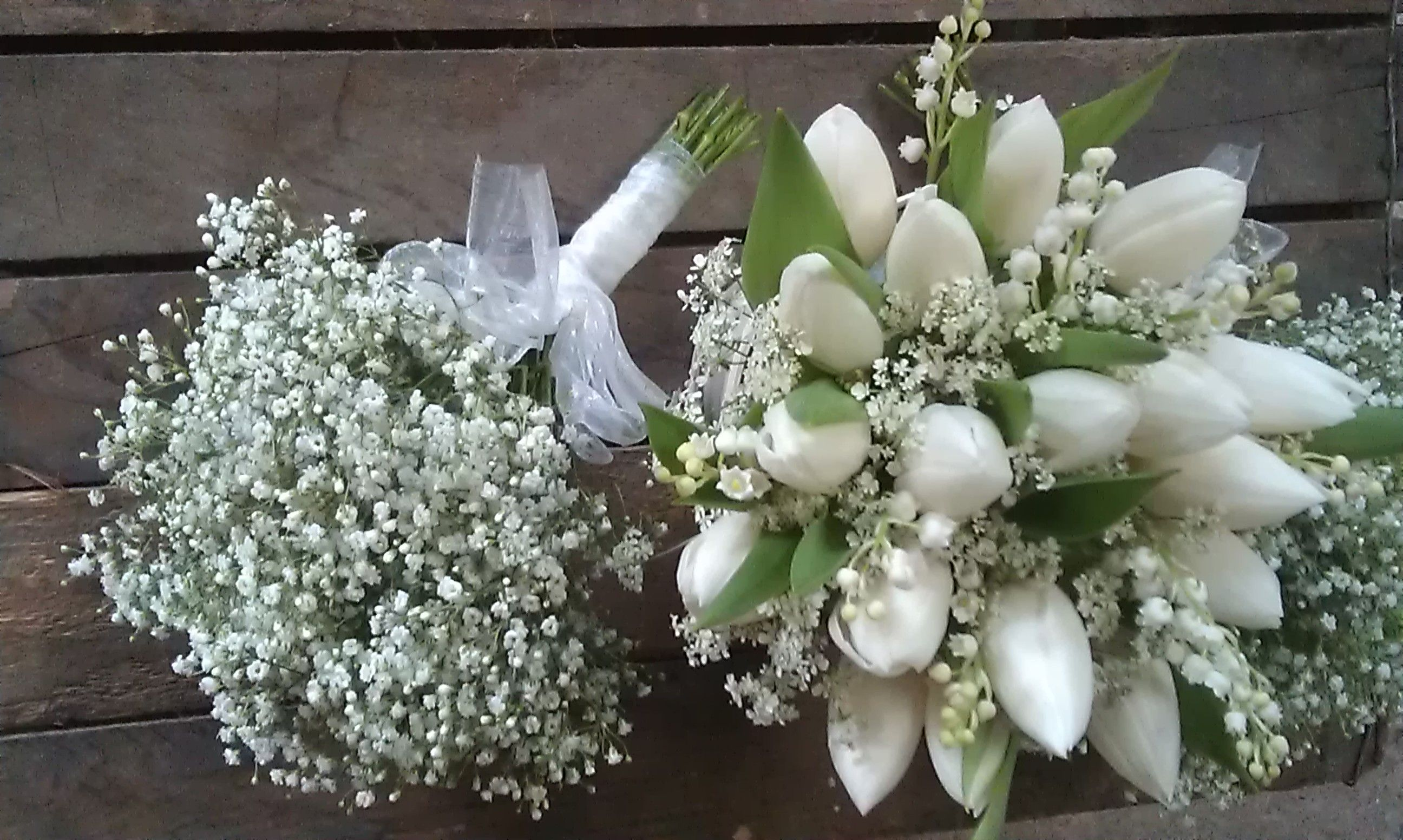 Bridal Bouquet Of Lily Of The Valley And Tulips With