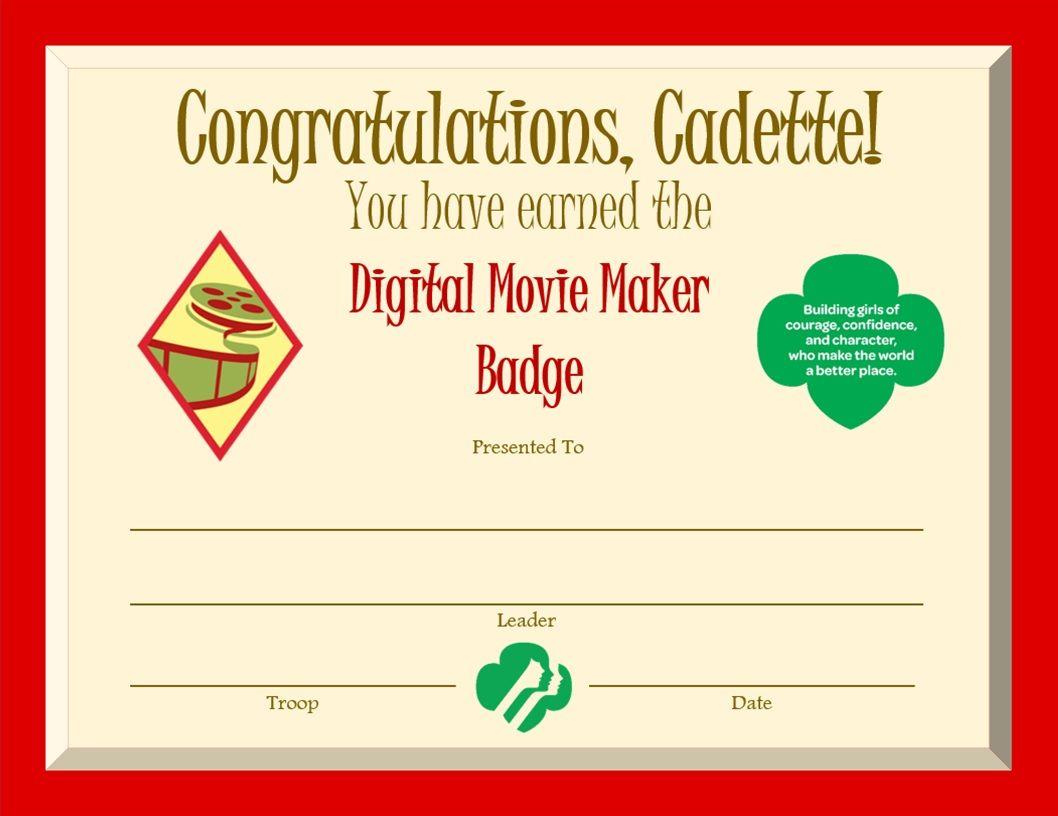 Cadette Digital Movie Maker Badge Certificate Cadette Girl Scouts