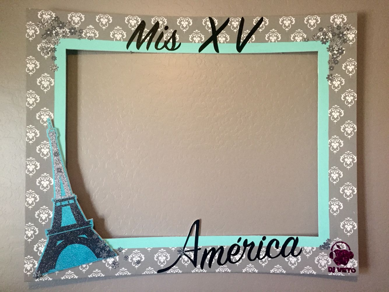 my party frames mis xv quinceaera theme pars colors mint gray