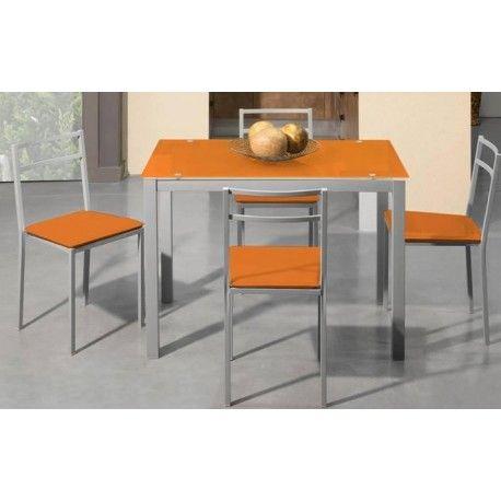 Conjunto de mesa y sillas para cocina moderna color naranja ...