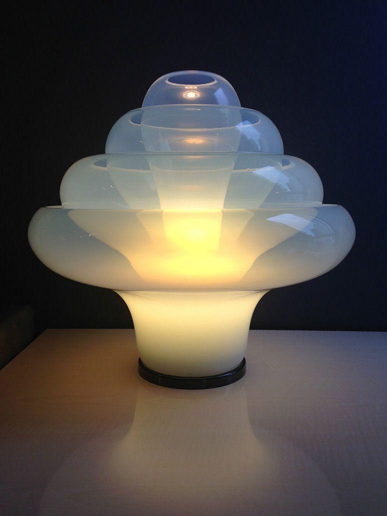 CARLO NASON   MAZZEGA   Lotus Table Lamp Of Opalescent Murano Glass (no. L35