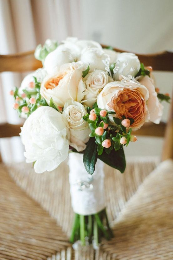 peach garden roses and white peonies bouquet