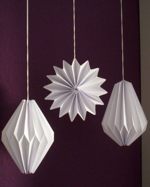 Origami Deko plissee anhänger origami deko 3er set wohnaccessoires