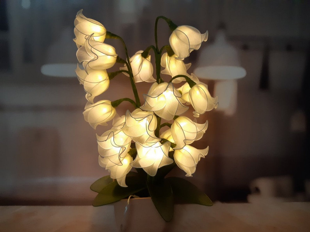 Off white Lily of the Valley flower lamp battery gift