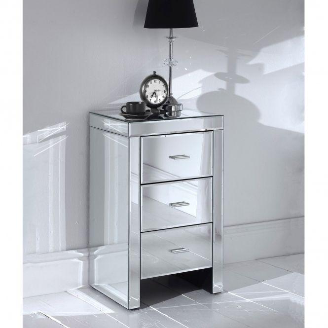 Best Romano Mirrored Slim Bedside Table Mirrored Bedroom 640 x 480