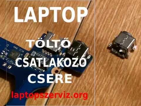 Laptop töltő csatlakozó csere az alaplapon, dc power jack replace.