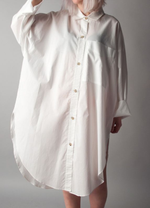 5643995ad Train dreams classic white button down dress   oversized cotton ...