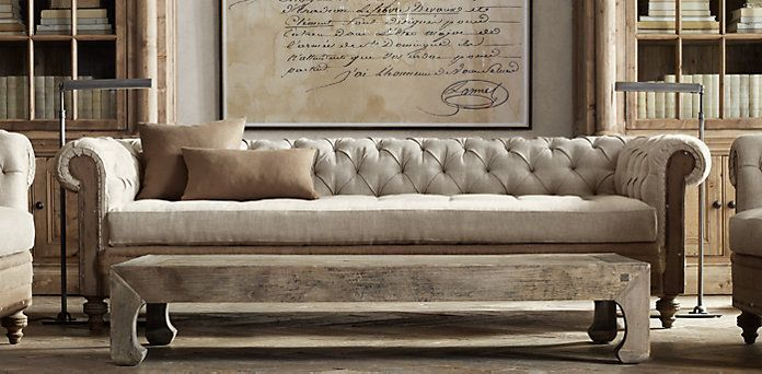 who makes restoration hardware leather sofas deep seated sectional sofa chesterfield 76 kensington ...