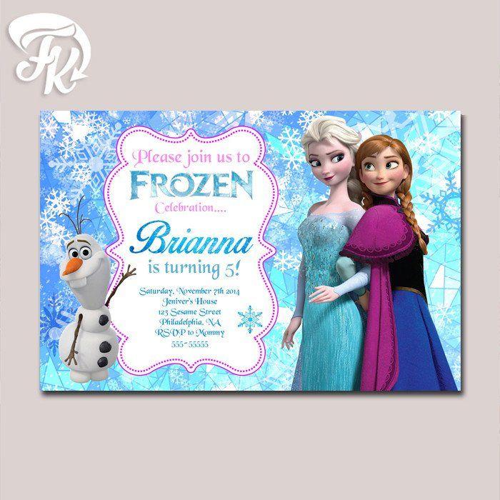Frozen Queen and Princess Geometrick Birthday Party Card Digital Invitation Kid…