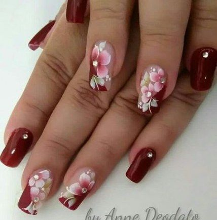 50 ideas for nails almond design winter nails  flower