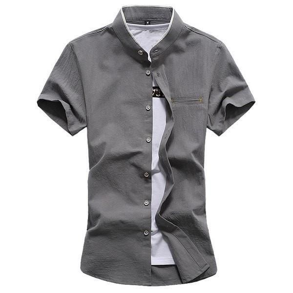 f1335a4da00 Solid Short-Sleeve Mandarin Collar Casual Modern Dress Shirt M-7XL 4 Colors