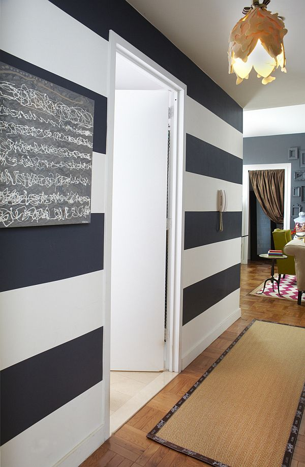 How to design a small rental apartment by Janet Lee #graystripedwalls