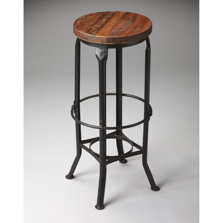 Brown Wooden Round Seat On Black Iron Backless Bar Stool With Foot Rest As Well Counter Height Plus 30 In Stools Swivel Back