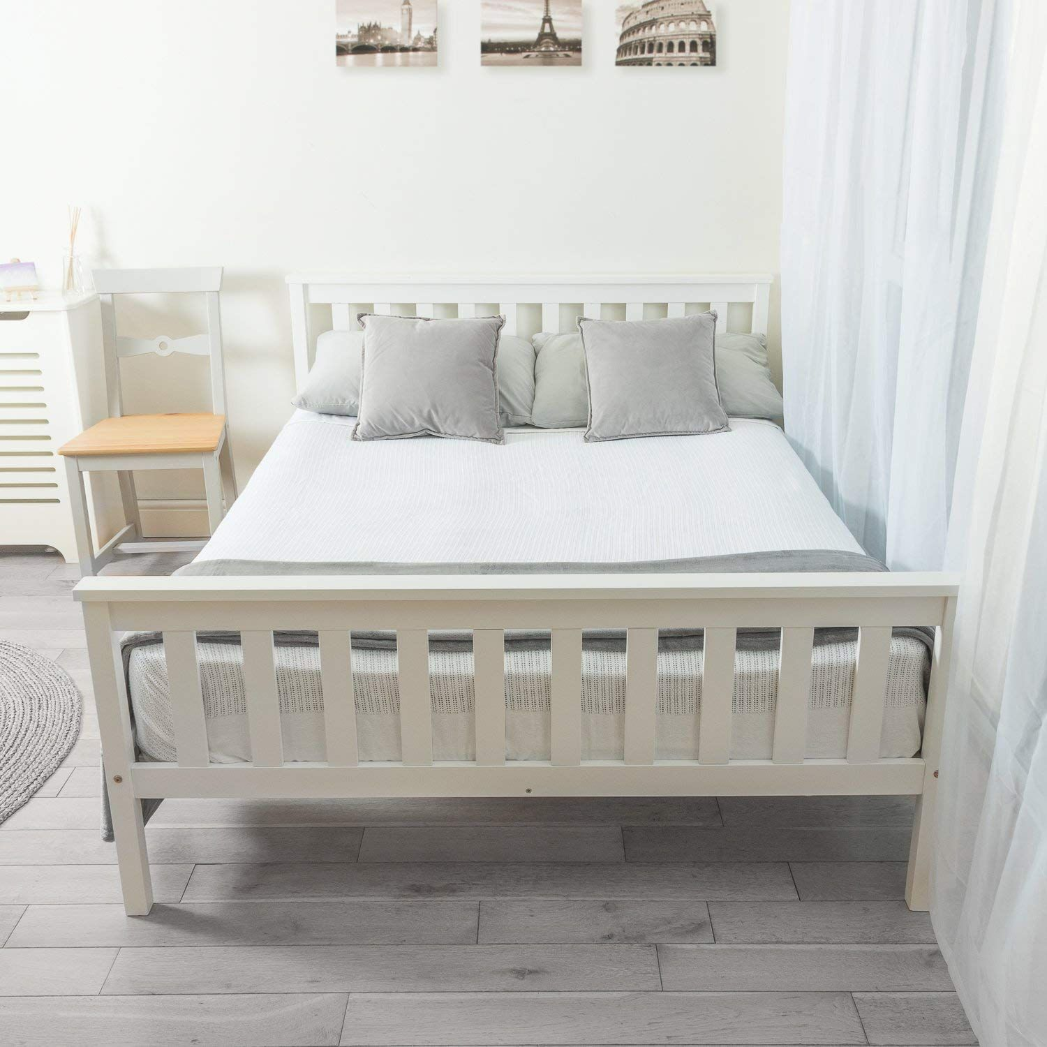Home Treats Double Bed In White 4 6ft Solid Wooden Frame Perfect For Adults Kids Teenagers Amazo Best Bed