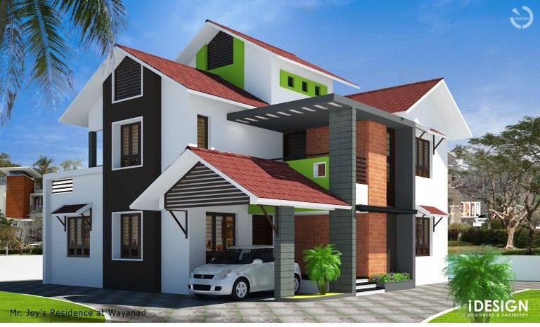 Joy's proposed Residence at Wayanad. Designed by :- iDESIGN Designers & Engineers 1st floor, Mechannur complex, Cheruvannur, Calicut - 673655, Kerala. Mob : +91 9995006407, 9895772550 Email: idesigncalicut@gmail.com