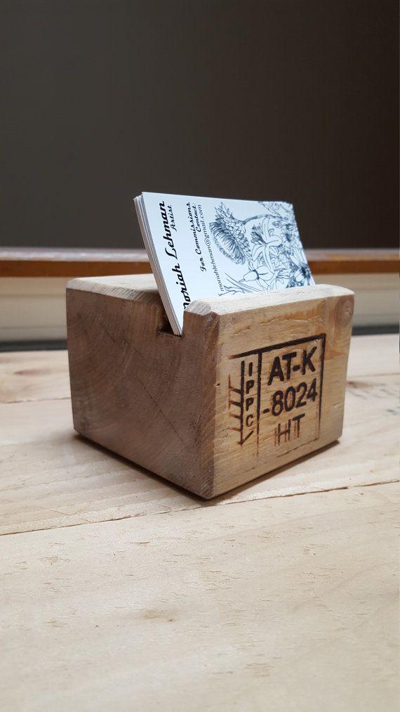 Reclaimed Wood Business Card Holder Pallet Desktop