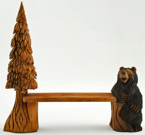 Bench Carved Bear U0026 Tree By Woodland Creek Furniture.